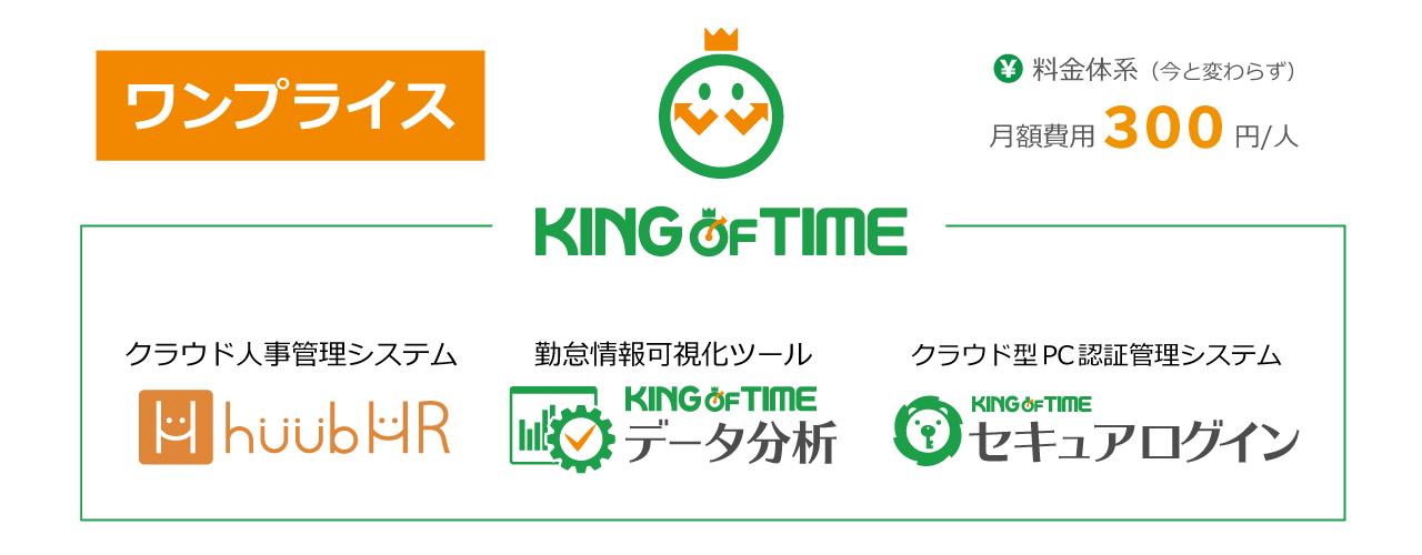 2020年4月、「KING OF TIME」は月額300円のまま関連3サービスを統合